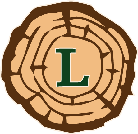 Ledkins Insurance Agency logo with top down view of cut log and a green capital letter L in center.